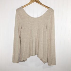 Akemi + Kin Scoop Neck Beige Sweater Top Size S